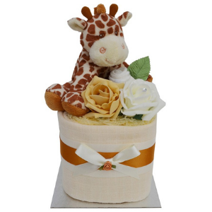 Unisex Mini Square Giraffe Nappy Cake