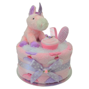 Cupcakes and Unicorns Nappy Cake for Baby Girl - 1 Tier