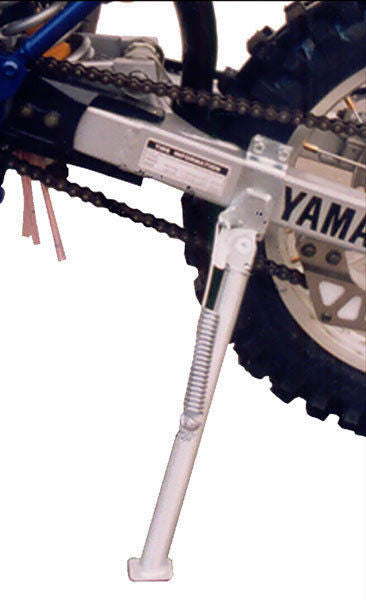 EnduroChicks - Shop for Ricochet Clamp-On Side Stand Part #034 - Mounting pic 1 -  Kawasaki KX125/KX250 (1997-2002)
