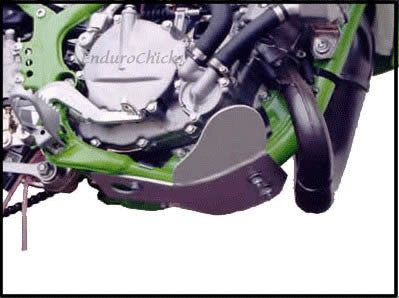 EnduroChicks - Shop for Ricochet Skid Plate Part #220 - Mounting pic - Kawasaki KX80/85/100 (1996-2015)