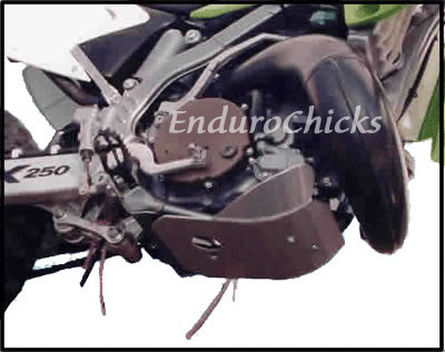 EnduroChicks - Shop for Ricochet Skid Plate Part #228 - Mounting pic1 - Kawasaki KX250 (1994-2004)