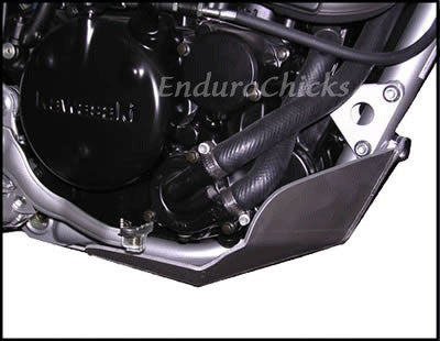 EnduroChicks - Shop for Ricochet Skid Plate Part #254 - Mounting pic 1- Kawasaki KLR250 (1995-2005)