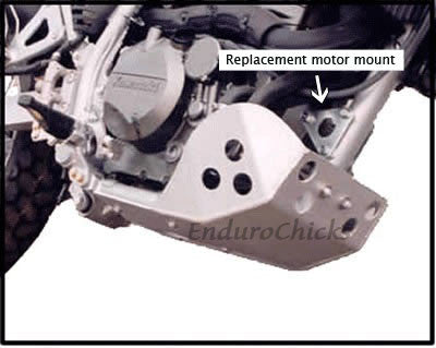 EnduroChicks - Shop for Ricochet Skid Plate Part #290M with Replacement Motor Mounts - Mounting Hardware - Kawasaki KLR650 (2008-2014)