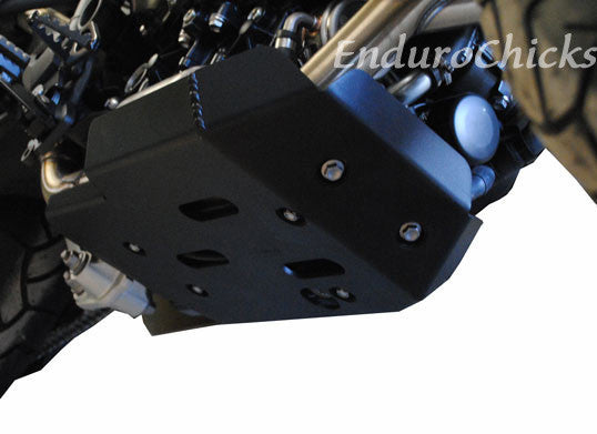 EnduroChicks - Shop for Ricochet Skid Plate Part #487 - Mounting Pic 1 - Triumph Tiger 800 (2011-2015)