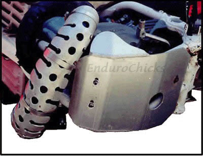 EnduroChicks - Shop for Ricochet Stainless Steel Universal Pipe Guard Part #888 - Mounting pic for Honda, Kawasaki, KTM, Suzuki, Yamaha