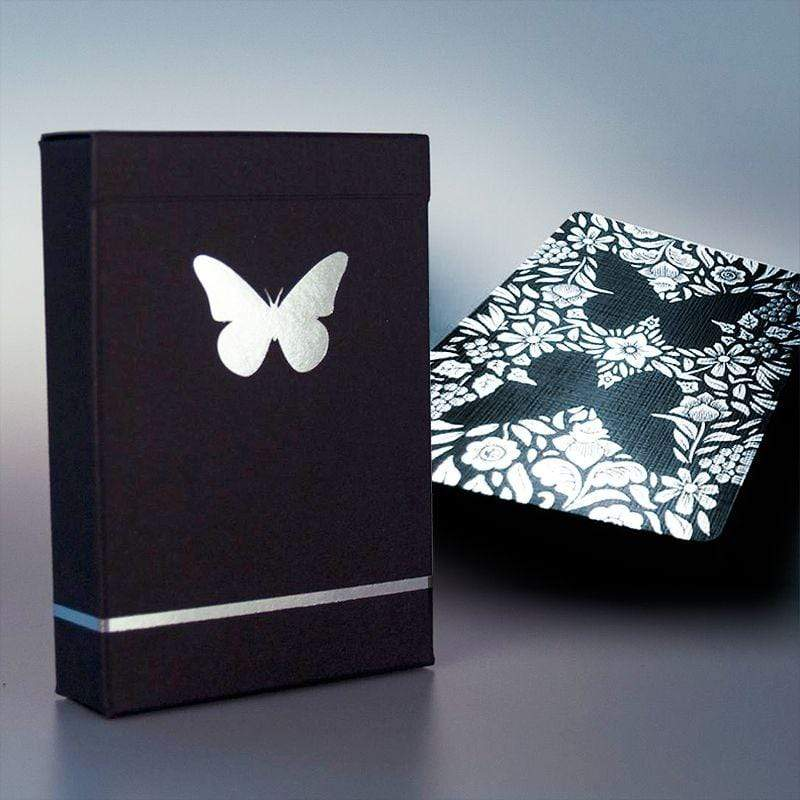 Butterfly Playing Cards Black - Silver