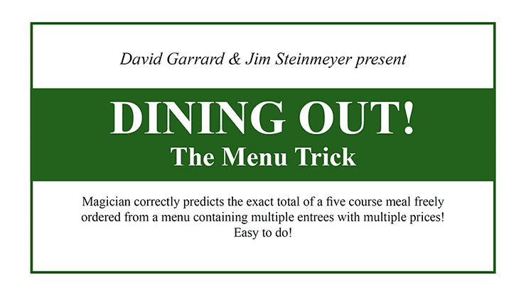Dining Out The Menu Trick by David Garrard and Jim Steinmeyer Alt1