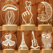 3D LED Table Light Jellyfish Owl Night Light
