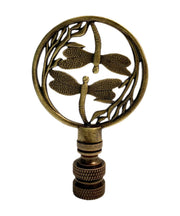 "3""H Double Dragonfly Lamp Finial Antique Brass"