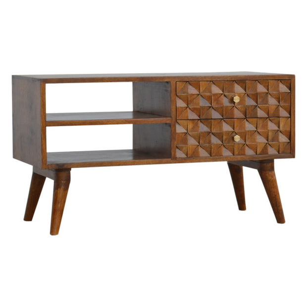Chestnut Diamond Carved Media Unit