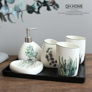 Nordic green plant ceramic six piece bathroom products Simple five