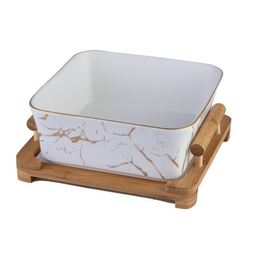 Marble Pattern Bowl and Wooden Tray