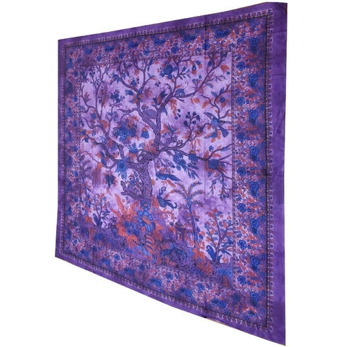 Purple Tree of Life Birds Tapestry Colorful Indian Wall Decor