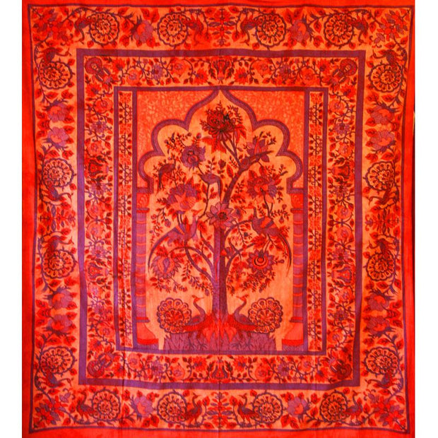 Red Tree of Life Peacock Tapestry Colorful Indian Wall Decor