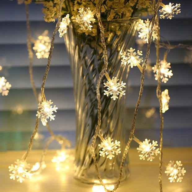 Snowflakes LED Garland String Lights Holiday