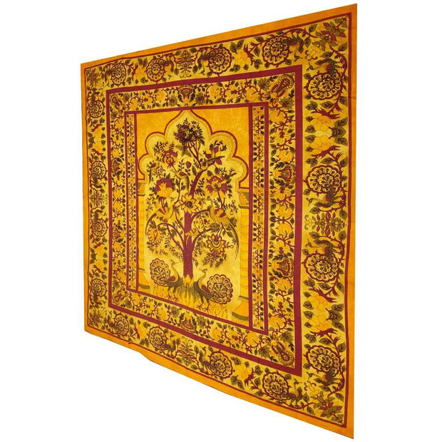 Yellow Tree of Life Peacock Tapestry Colorful Indian Wall Decor