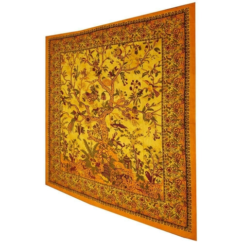 Yellow Tree of Life Birds Tapestry Colorful Indian Wall Decor