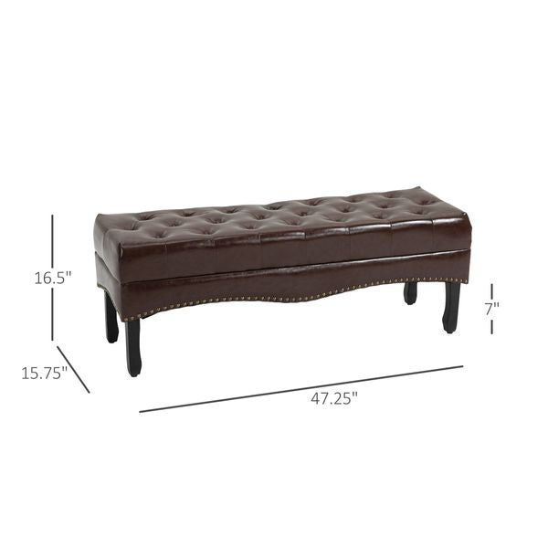 HOMCOM Multipurpose Entryway Tufted Bench Upholstered Ottoman Shoe
