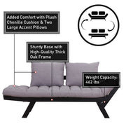 HOMCOM Convertible Sofa Bed Futon Loveseat Living Room with Pillow