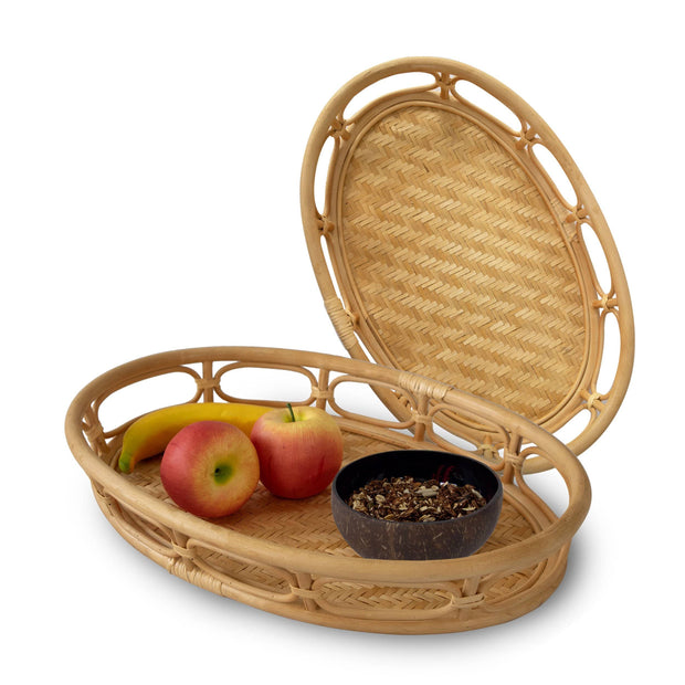 Oval Rattan Wicker Serving Trays with Handles