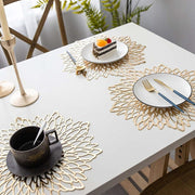 6PCS Gold or Silver Finish Star Cluster Leaf Placemat - Dining Table Hollow Pad Coaster Pads Table Bowl Mats