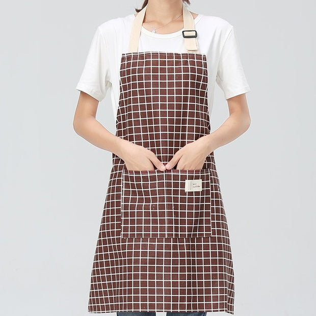 Premium Adjustable Cotton Kitchen Apron - For Cooking Baking Restaurant Pinafore