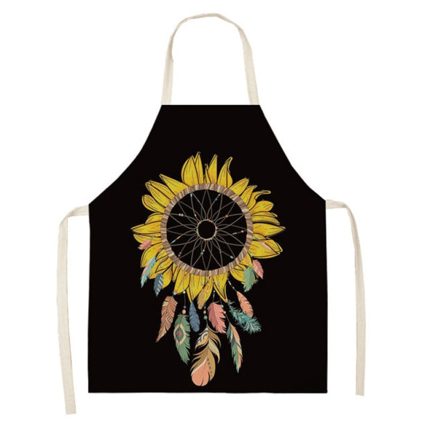 Sunflower Printed Cotton Linen Apron - Black Background and Sunflower Yellow Apron Baking Waist Bibs