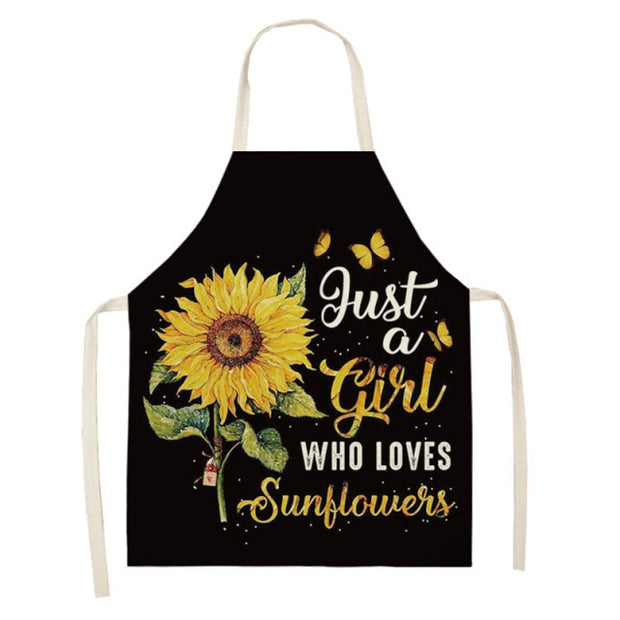 Sunflower Printed Cotton Linen Apron - Black Background and SunflowerYellow Apron Baking Waist Bibs
