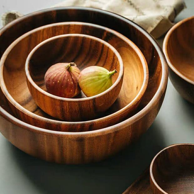 Premium 3 size natural acacia wooden salad and fruit bowl