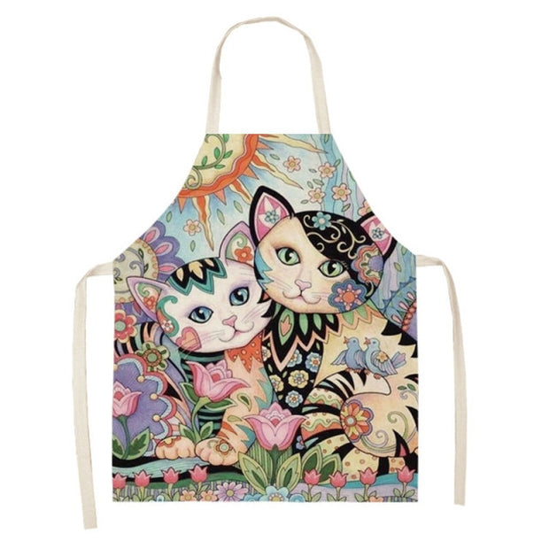 Cat Cooking Aprons - Various Designs Printed Sleeveless Cotton Linen Aprons for Men Women Baking Accessories