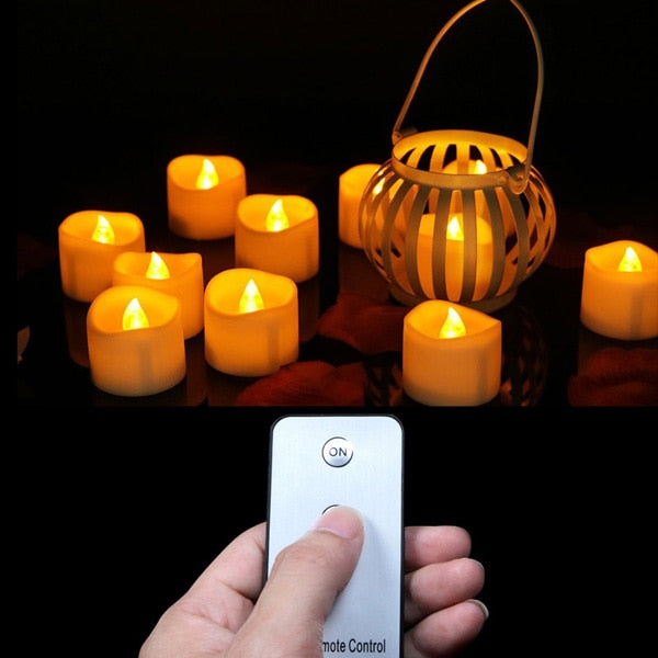 Pack of 12 or 24 Battery Votive Candles With Remote,Remote Led Candles,Small Tea Lights,Party Candles,Electronic Candles Remote