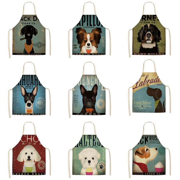 Unisex Cute Dogs and Cats Kitchen Aprons - Waterproof Cooking oil-proof Cotton Linen Chef Apron Cleaning 68*55cm 0098