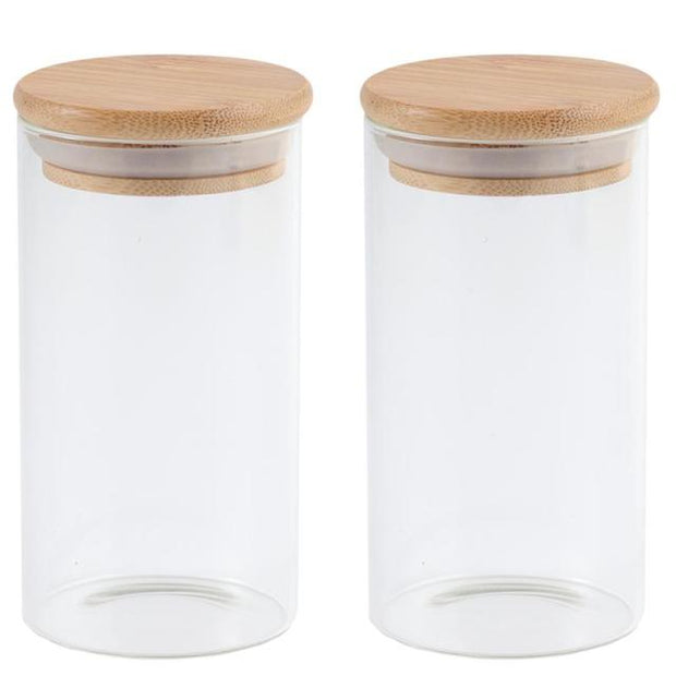 Wood Lid Glass Airtight Canister Kitchen Storage Bottles - Jars Food Container Grains Tea Coffee Beans Grains Candy Jar Containers
