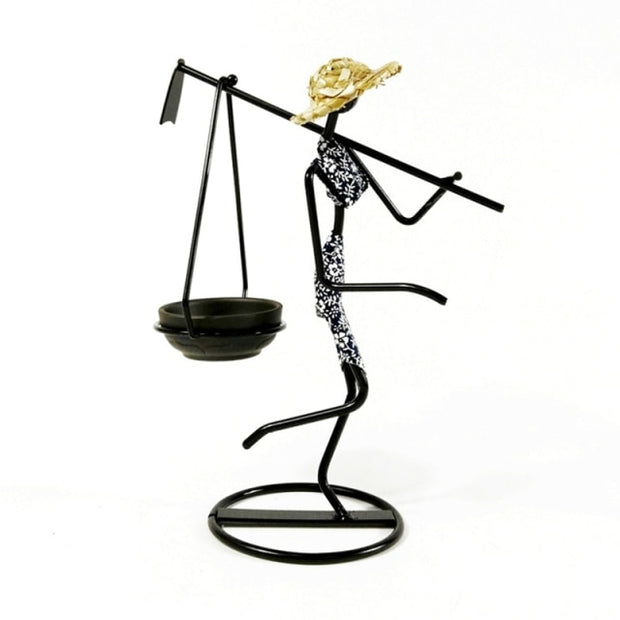 Abstract Iron Figure with Straw Hat Candle Holder