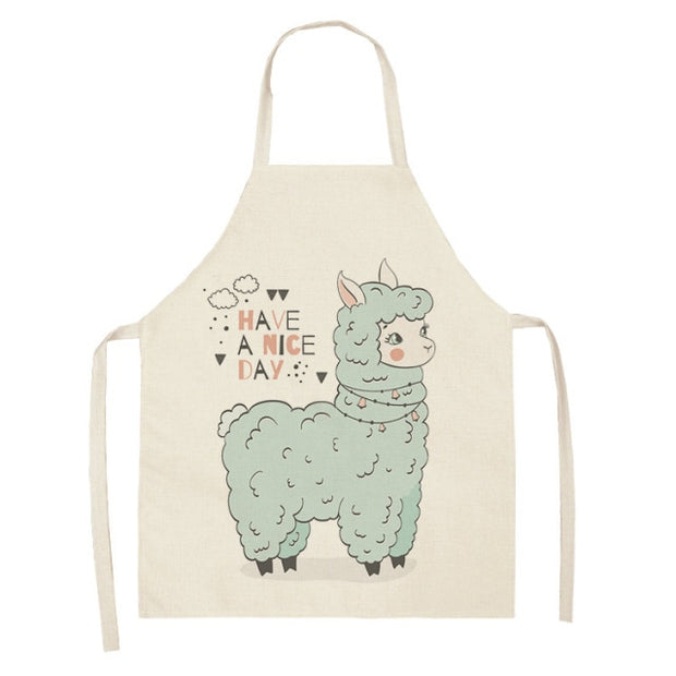 Llama Printed Cotton Linen Sleeveless Apron -  Kitchen Women Pinafore Home Cooking Baking Waist Bib 53*65cm