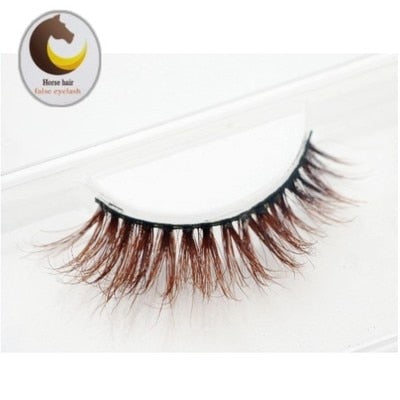 3D Mink Fake eyelashes horse hair false eyelashes cross brown false lashesmakeup natural tail slightly long section of a large