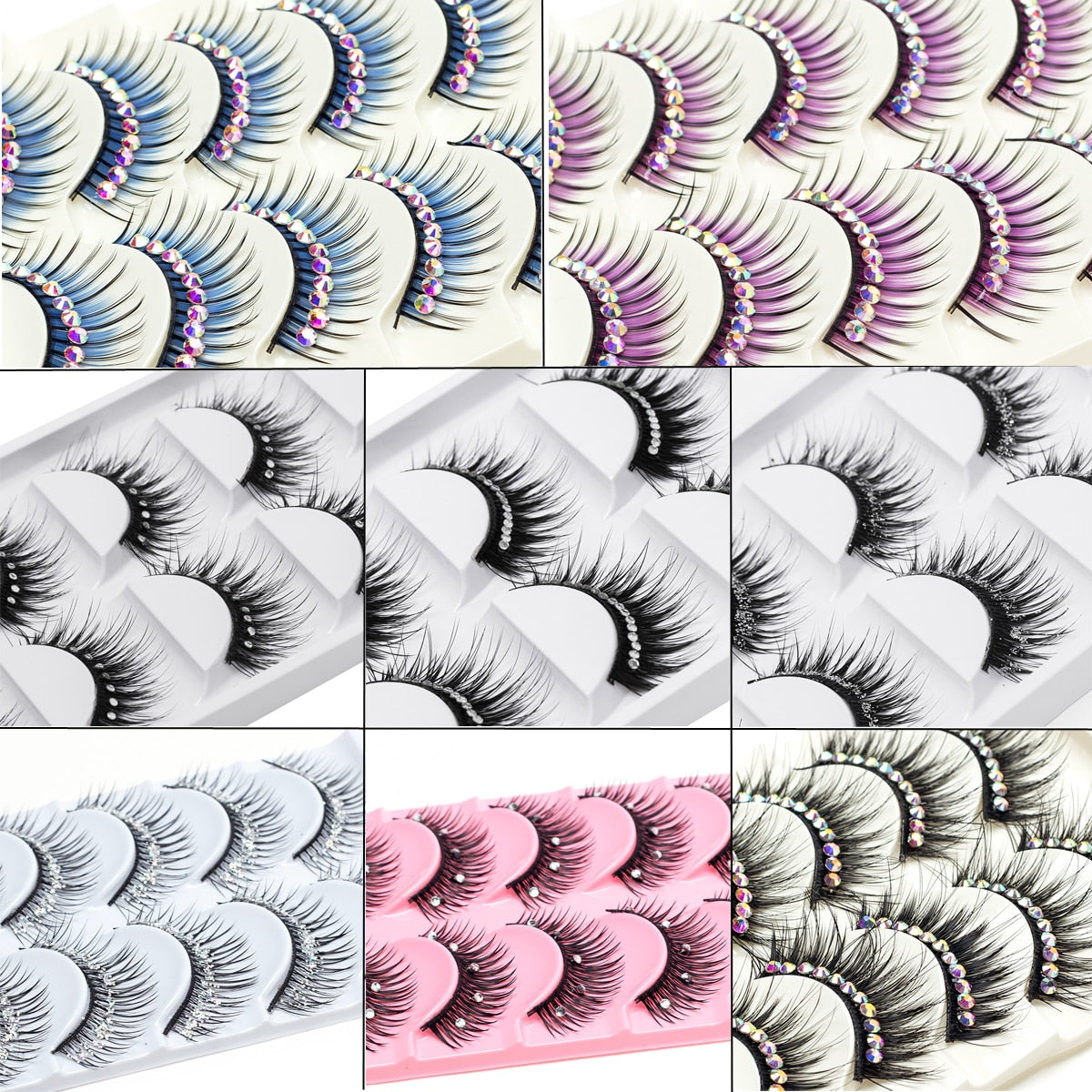 ICYCHEER Makeup 5 Pairs Color Glitter Diamond Eyelashes False Eye Lashes Party Cosplay Halloween Long Thick Natural Dance Lashes