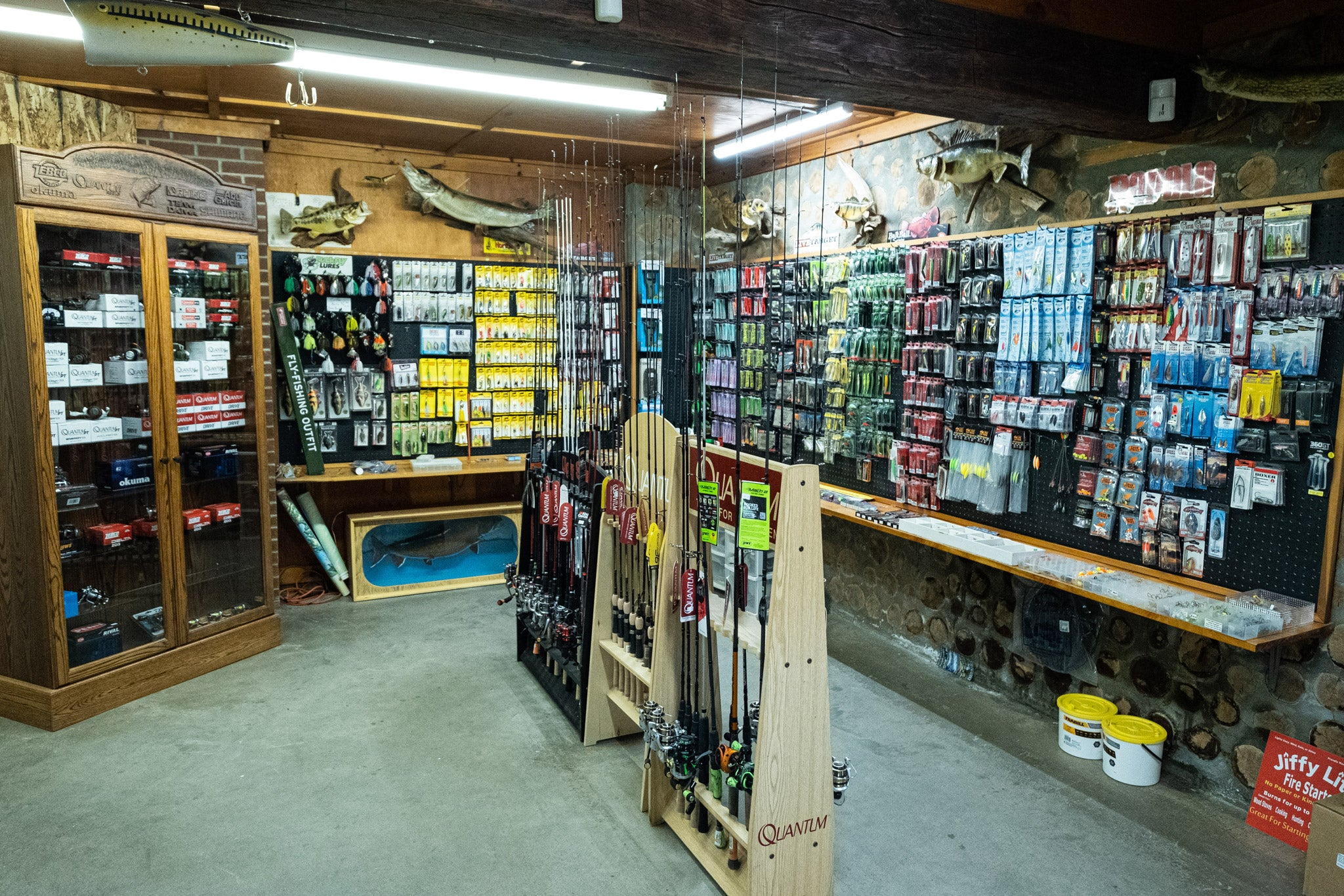 Shop view of fishing rods and tackle