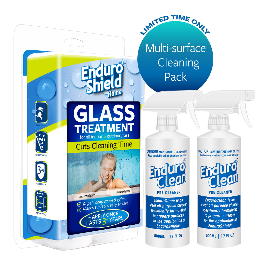 EnduroShield Home Easy Clean Treatment 500ml Kit For Glass Showers | Pool Fencing | Windows & More - Limited time offer