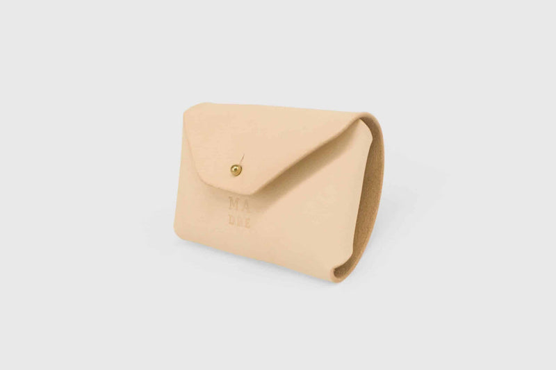 minimalist leather wallet nude colour