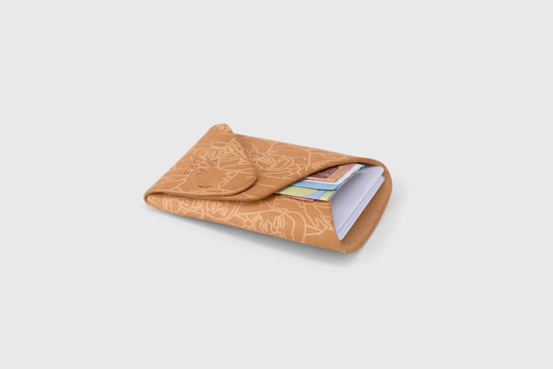 Calf leather cash and card holder