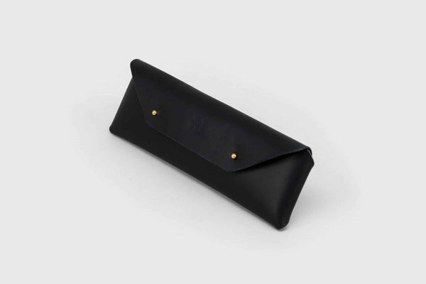 elegant black leather etui for pencils