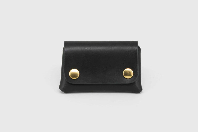 vegtan leather black business card holder