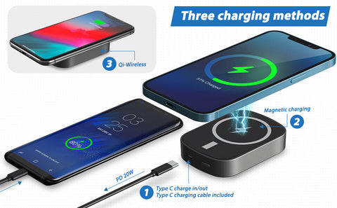 Cable fast charging with wireless power bank for Samsung