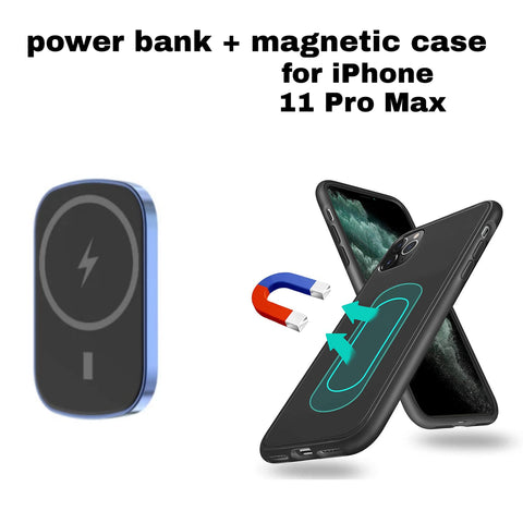 Magnetic wireless powerbank for iPhone 11 Pro Max with metal case