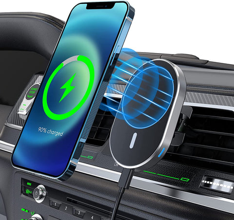 Wireless magnetic car phone holder mount