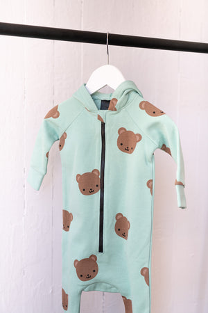 Kawaii Bear Allover Print Hooded Romper
