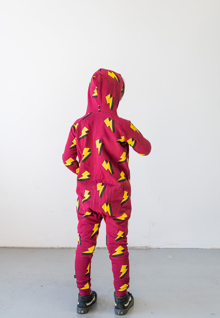 Lightning Bolt Allover Print Hooded Romper