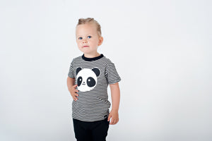 Kawaii Panda Striped T-shirt