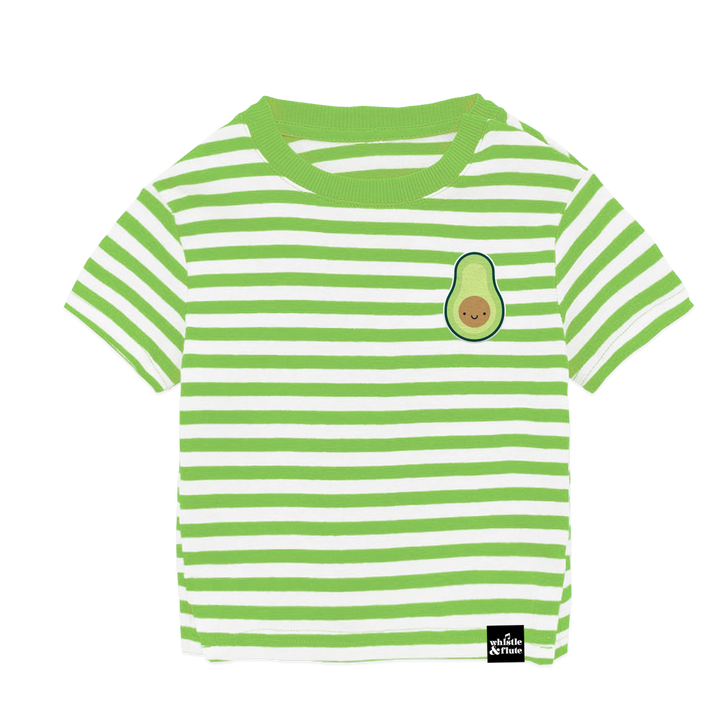 Kawaii Avocado Striped T-Shirt